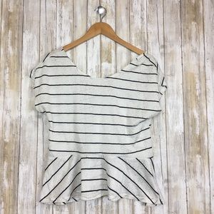 Painted Threads Striped Peplum Top Size Lg